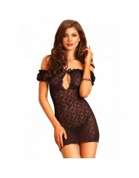 LEG AVENUE CHEMISE NEGRO CON EXCLUSIVO BORDADO