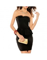 QUEEN LINGERIE VESTIDO NEGRO REMACHES GOLD
